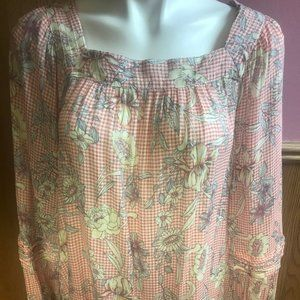 LC Lauren Conrad Pink Floral/Checkered Long Sleeve